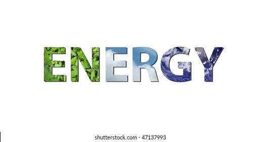 The word ENERGY is written composing of elements of earth, water and air. Water picture from NASA.