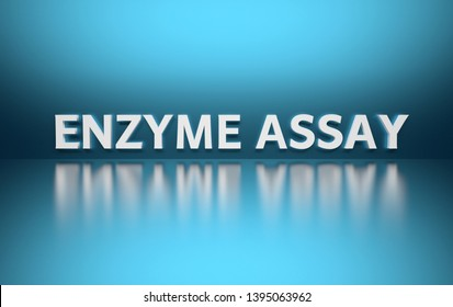 Word Enzyme Assay written in large bold white letters and placed on blue background over reflective surface. 3d illustration.