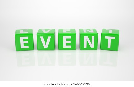 The Word Event out of green Letter Dices