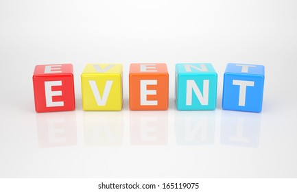 The Word Event out of multicolored Letter Dices