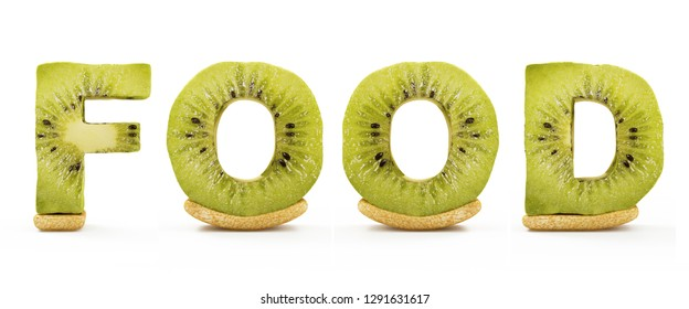 Word Food Made from Kiwi Letters isolated on white background. 3D Rendering