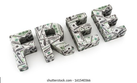 Word FREE made from dollar banknotes on white background