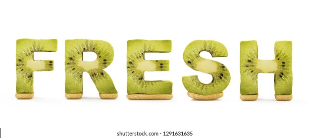 Word Fresh Made from Kiwi Letters isolated on white background. 3D Rendering