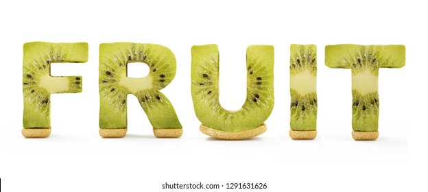 Word Fruit Made from Kiwi Letters isolated on white background. 3D Rendering