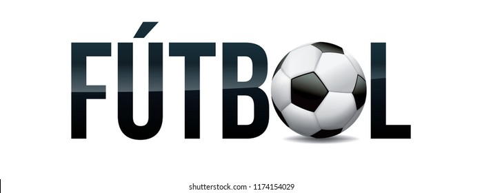 The word FUTBOL and soccer ball word art concept illustration.