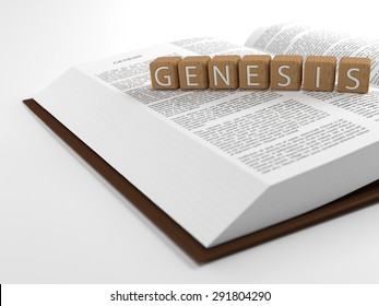 The word Genesis placed on an open bible isolated on white. 3D Illustration