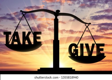 Word give heavier, than the word to take on the scales. Concept of altruism and donation