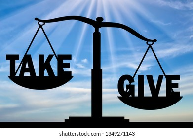Word give in priority than the word to take on the scales. Concept of altruism and donation