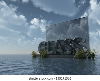 the word glass in glass at water and blue cloudy sky - 3d illustration