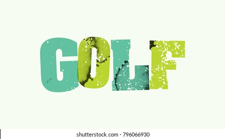 The word GOLF stamped in colorful paint and ink on a plain background.