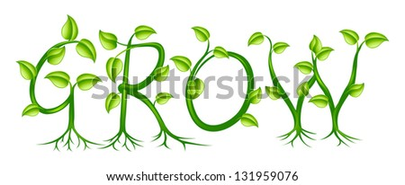 word grow spelled out plant vines stock illustration 131959076