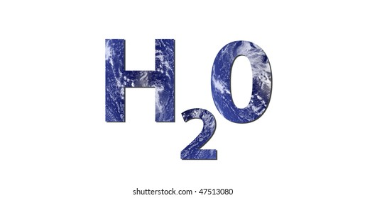 The word H2O is written with letters made from water. Water picture from NASA.