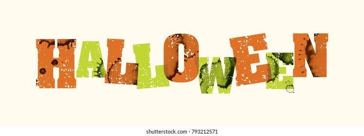 the word halloween concept printed in letterpress hand stamped colorful grunge paint and ink