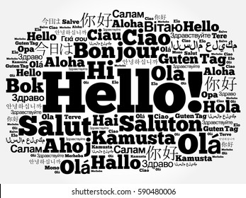 Word HELLO in different languages, presentation background