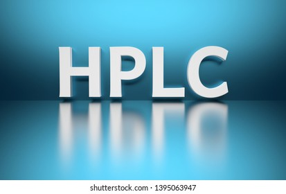 Word HPLC written in large bold white letters and placed on blue background over reflective surface. 3d illustration.