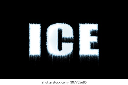 Word Ice on black background in cold, white icy letters. Illustration. Cold, frost.