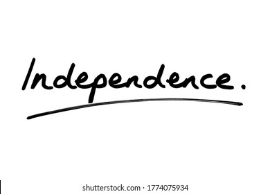 The word Independence handwritten on a white background.