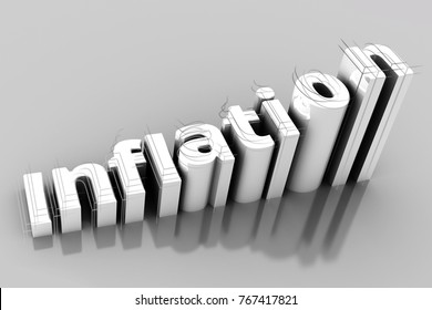Word Inflation on up trend, with Growth inflation chart and word inflation on gery backgroun. Illustrations 3d.