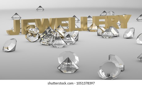 The word jewelry written in 3D letters with diamonds 3D render illustration