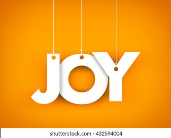 Word JOY hanging on the ropes. 3d illustration