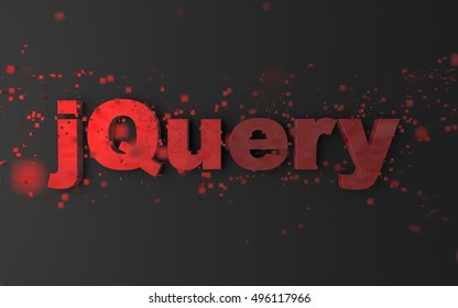 Word 'jQuery' with pixels / particles flying around. Javascript library concept. 3D Render