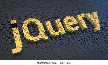 Word 'jQuery' of the yellow square pixels on a black matrix background. Javascript library concept.