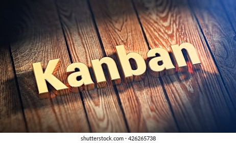 """The word """"Kanban"""" is lined with gold letters on wooden planks. 3D illustration pic"""