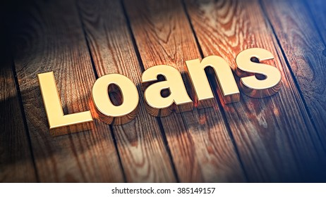 """The word """"Loans"""" is lined with gold letters on wooden planks. 3D illustration image"""