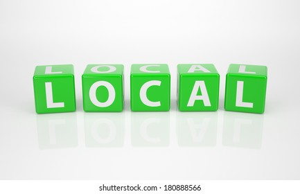 The Word Local out of green Letter Dices
