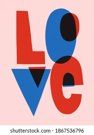 Word Love postcard in flat trendy style. Abstract lettering for Happy Valentine's day. Romantic quotes gift card
