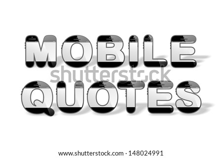 Word Mobile Quotes Smart Design Smartphone Stock Illustration