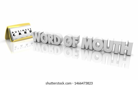 Word of Mouth Business Cards Referrals New Customers 3d Illustration