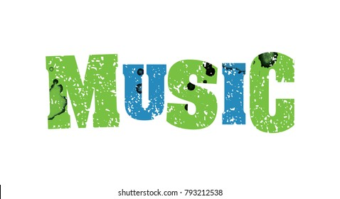 The word MUSIC concept printed in letterpress hand stamped colorful grunge paint and ink.