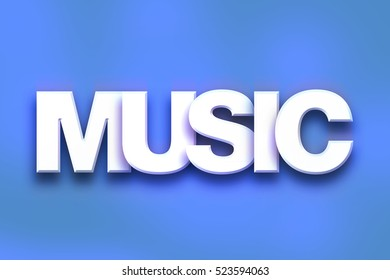 "The word ""Music"" written in white 3D letters on a colorful background concept and theme."