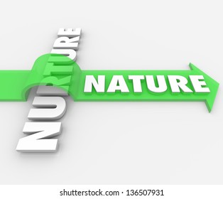The word Nature on an arrow jumping over the term Nurture to symbolize how one's genetic coding takes precedence over surroundings and society influences