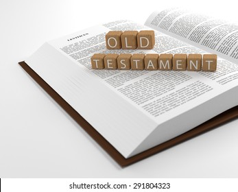 The word New Testament placed on an open bible isolated on white. 3D Illustration