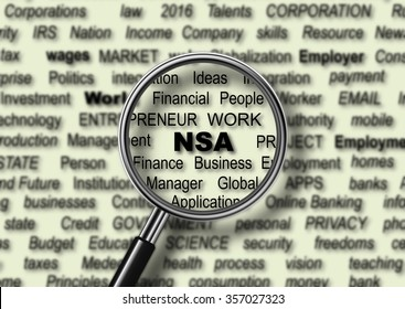 word NSA through magnifying glass concept
