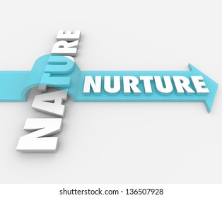 The word Nurture riding an arrow over Nature to symbolize the importance of parenting and societal factors in shaping who we are as people