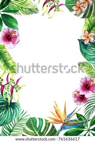 Word Paradise Framed Exotic Tropic Palm Stock Illustration 761636617 ...
