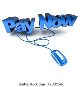 Word Pay Now, in blue connected to a computer mouse