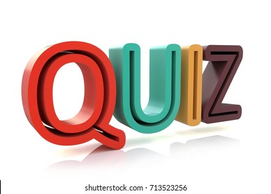 The word Quiz in colored 3D letters to illustrate an exam, evaluation or assessment to measure your knowledge or expertise. 3d illustration