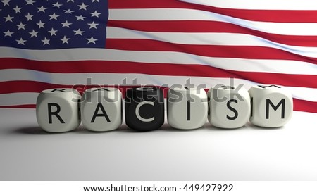 word racism written on dices flag stock illustration 449427922