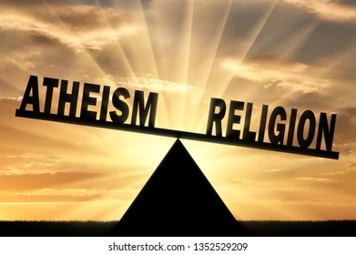 Word religion is more powerful than the word atheism on the scales. Conceptual image of religion