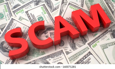 Word Scam on the background of one hundred dollar bills