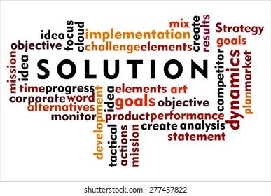 the word of solution on collage word