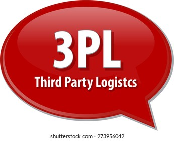 word speech bubble illustration of business acronym term 3PL 3rd Party Logistics