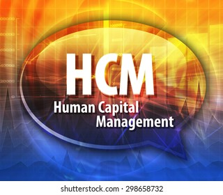 word speech bubble illustration of business acronym term HCM Human Capital Management