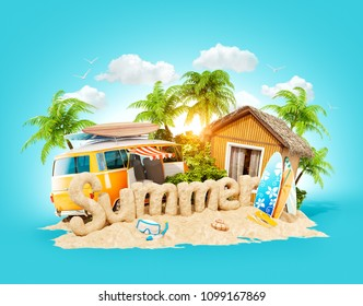 The word Summer made of sand on a tropical island. Unusual 3d illustration of summer vacation. Travel and vacation concept.
