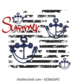 Word Summer on striped pattern. T-shirt design childish style. Textile print with anchors and watercolor effect.