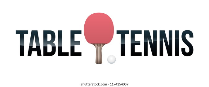 The word TABLE TENNIS and paddle and ball concept illustration.